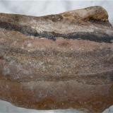 Caliza compacta, en la que han quedado englobadas arenas de origen volcánico. El Hierro. Islas Canarias. Ancho de imagen 7 cm (Autor: María Jesús M.)