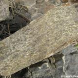 Cornubiana pelítica (cornubianita). Detalle de la roca en fractura fresca, se observan diminutos cristales de moscovita y de cordierita. 20 x 8 aprox. (Autor: Frederic Varela)