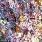 """Harzburguita Barranco de Guayedra, Las Palmas de Gran Canaria, España 60X Vista de los olivinos alterados en matriz.  Se aprecia que, cuando un olivino """"se pierde"""" por la alteración, queda una fina aureola roja como recuerdo del cristal desaparecido. (Autor: prcantos)"""