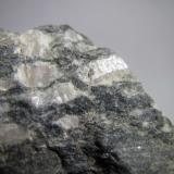 Gneis ocelar Río Sucio, Órgiva, Granada, Andalucía, España 3'5 cm. ancho de campo Detalle de la roca anterior que muestra la macla de los cristales de feldespato (cambio de brillo). (Autor: prcantos)