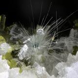 Actinolita, epidotaGlaciar Miage, Valle Veny, Macizo Monte Bianco (Macizo Mont Blanc), Courmayeur, Valle de Aosta (Val d'Aosta), ItaliaCampo de visión 4 mm. (Autor: Juan Miguel)