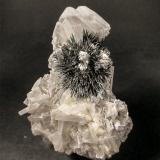 Stibnite on Barite<br />Herja Mine, Chiuzbaia, Baia Sprie, Maramures, Romania<br />H: 10.5cm x W: 7.8cm x D: 3.4cm<br /> (Author: Adrian Pripoae)