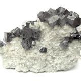 Galena, dolomite<br />Meggen Mine, Lennestadt, Olpe, Sauerland, North Rhine-Westphalia/Nordrhein-Westfalen, Germany<br />Specimen size 8,5 cm, largest galena 1 cm<br /> (Author: Tobi)