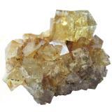 Fluorite, chalcopyrite<br />Hilton Mine, Scordale, Hilton, North Pennines Orefield, former Westmorland, Cumbria, England, United Kingdom<br />Specimen size 4,5 cm, largest fluorite 12 mm<br /> (Author: Tobi)
