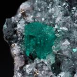 Beryl (variety emerald), Calcite, Pyrite<br />Coscuez mining district, Municipio San Pablo de Borbur, Western Emerald Belt, Boyacá Department, Colombia<br />38x35x38mm, xl=5x5mm<br /> (Author: Fiebre Verde)