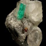 Beryl (variety emerald), Calcite, Pyrite<br />La Pita mining district, Cunas Mine, Municipio Maripí, Western Emerald Belt, Boyacá Department, Colombia<br />26x17x30mm, xl=9x2mm<br /> (Author: Fiebre Verde)