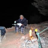 Photo 6. Rough Old Miner hugging the camp fire in winter night outfit complete with mine ugg boots.  You can see why we get so few visitors. (Author: crocoite)