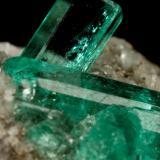 Beryl (variety emerald), Calcite, Pyrite<br />Chivor mining district, Municipio Chivor, Eastern Emerald Belt, Boyacá Department, Colombia<br />largest xl=11mm<br /> (Author: Fiebre Verde)