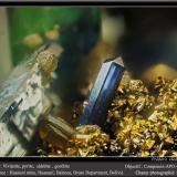 Vivianite, Pyrite, Siderite and GoethiteMina Huanuni, Huanuni, Provincia Dalence, Departamento Oruro, Boliviafov 3.5 mm (Author: ploum)