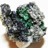 Azurite and Malachite<br />Tsumeb Mine, Tsumeb, Otjikoto Region, Namibia<br />40x40mm<br /> (Author: Heimo Hellwig)