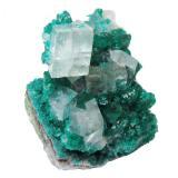 Calcite on dioptase<br />Tsumeb Mine, Tsumeb, Otjikoto Region, Namibia<br />Specimen height 2,5 cm, large calcite 1 cm<br /> (Author: Tobi)