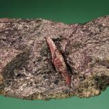 Corundum on Graphite<br />Graphite Mine, Amstall, Mühldorf, Krems-Land, Waldviertel, Lower Austria/Niederösterreich, Austria<br />45 mm specimen showing a 16 mm crystal<br /> (Author: Gerhard Brandstetter)